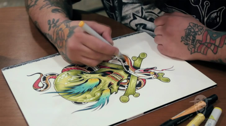 Film stills from David Tevenal: Tattoo Flash (3)