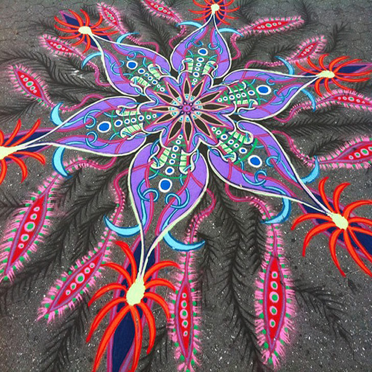 Colorful Sand Mandalas on City Sidewalks