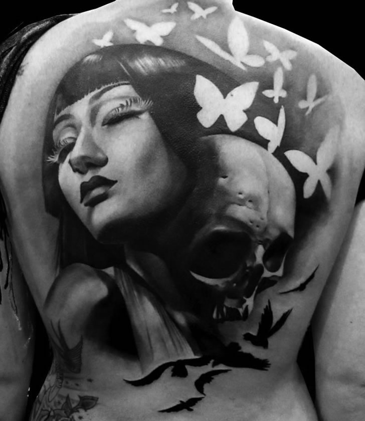 Artistic Back Tattoo