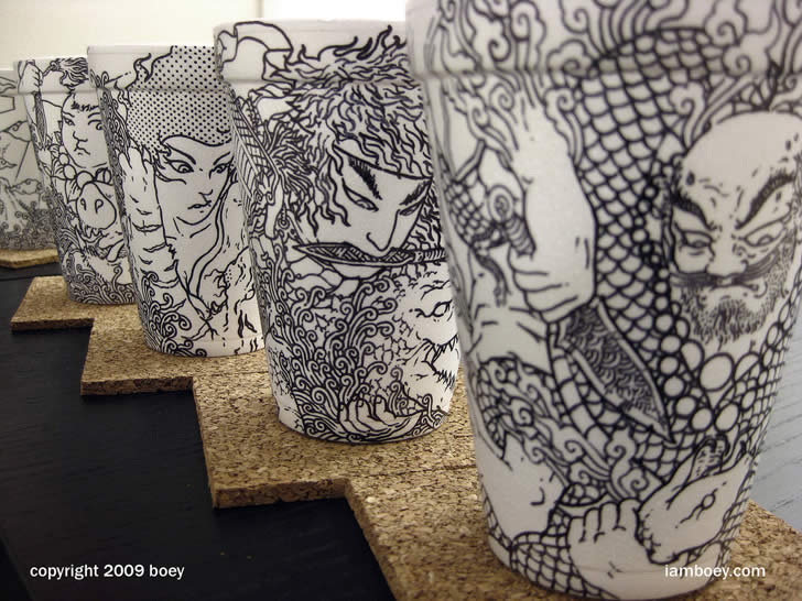 Drawing on coffee cup by Cheeming Boey (3)