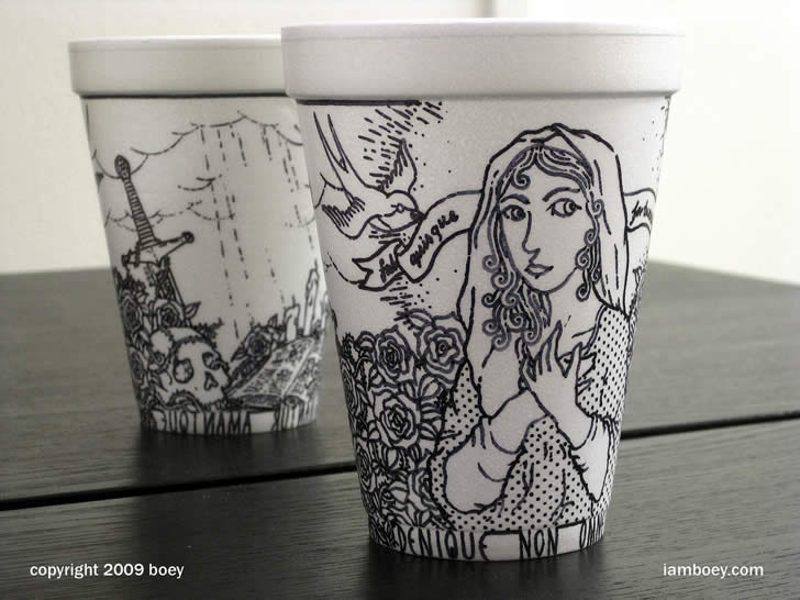 Drawing on coffee cup by Cheeming Boey (1)