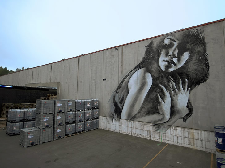 Girl on Factory Wall