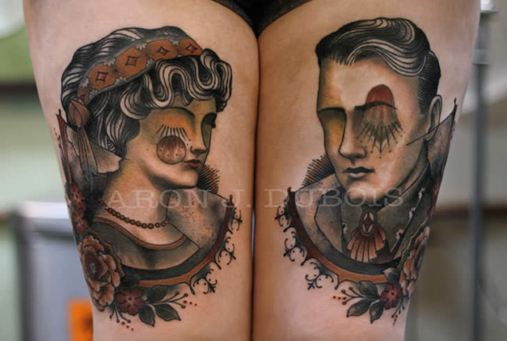 The couple portrait tattoo by Aron Dubois