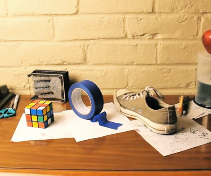 Rubix, tape and sneaker - anamorphic illusion by Brussup