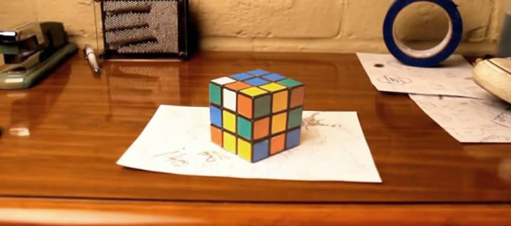 2nd Image: Rubix, tape and sneaker - anamorphic illusion by Brussup