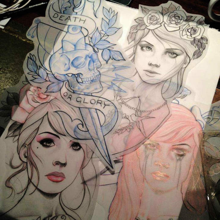Sketches for Tattoos by Drew Romero