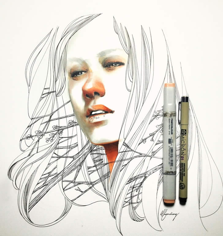 Beautiful drawing timelapse video by Elfandiary (1)