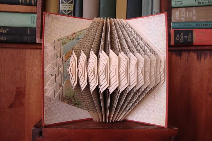 Acordian book art by  Exploded Library