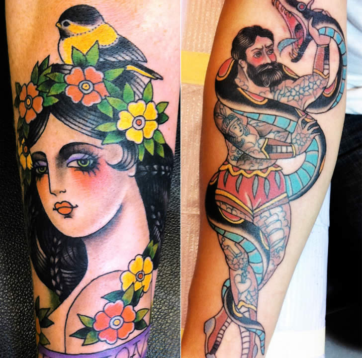 Colorful woman and man with snake tattoos by Marie Sena