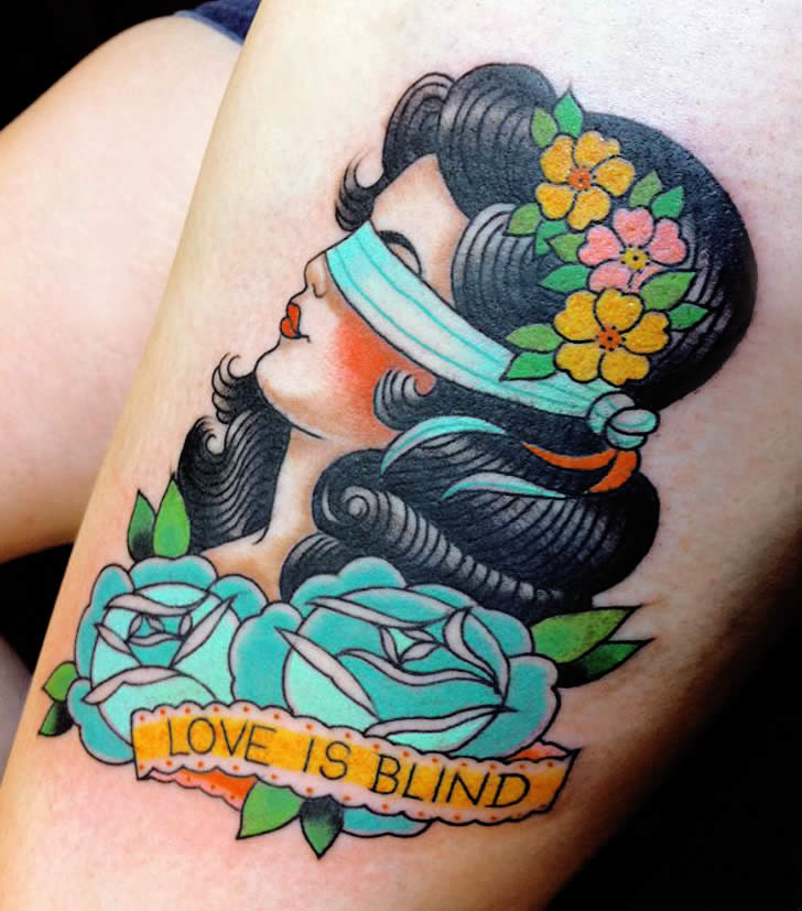 Love is Blind Woman Tattoo by Marie Sena