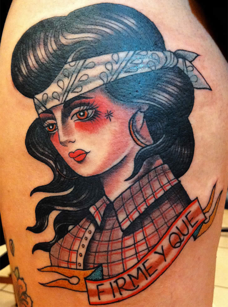 Cowgirl tattoo by Marie Sena