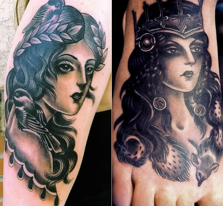 Grey and black woman portrait tattoos by Marie Sena