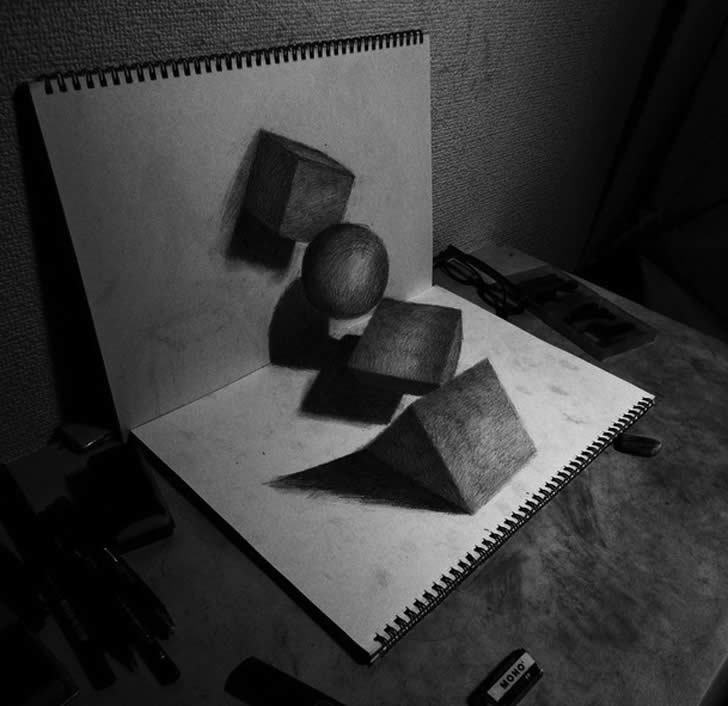 Optical illusion drawing by Nagai Hideyuki 3