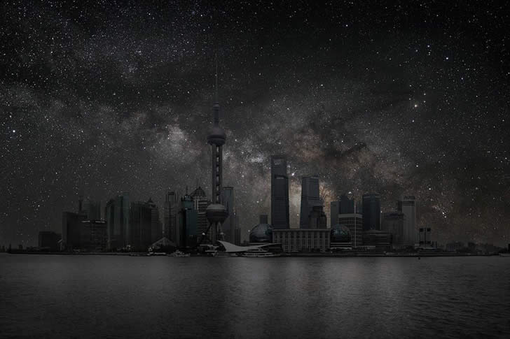 Shanghai. From series Darkened Cities by Thierry Cohen