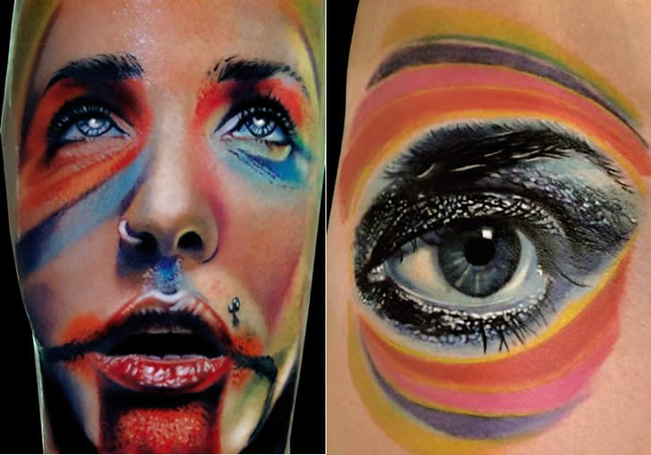 Colorful Eye Portrait and Eye tattoo by Andrea Afferni