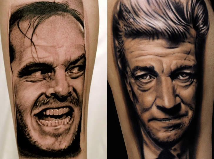 Jack from the Shining and Cronenber tattoos by Andrea Afferni
