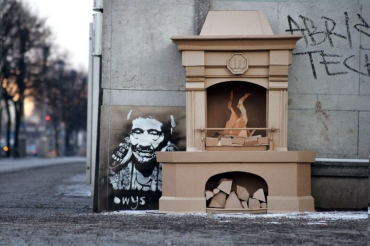 fireplace made of cardboard by bartek elsner