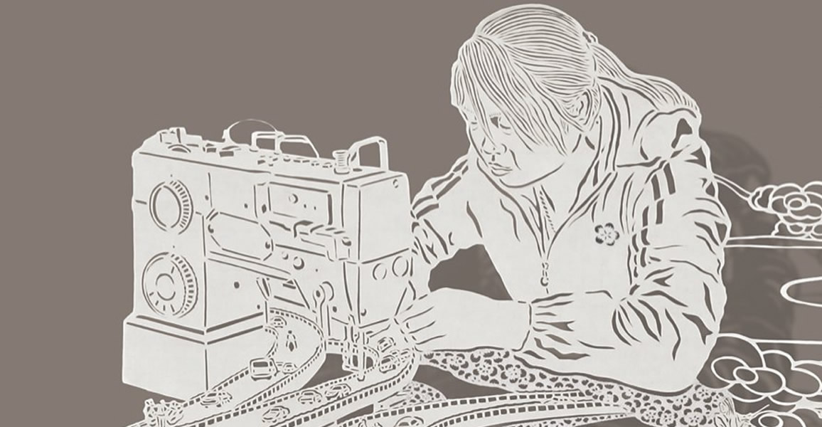 Woman on Sewing Machine. Paper art by Bovey Lee