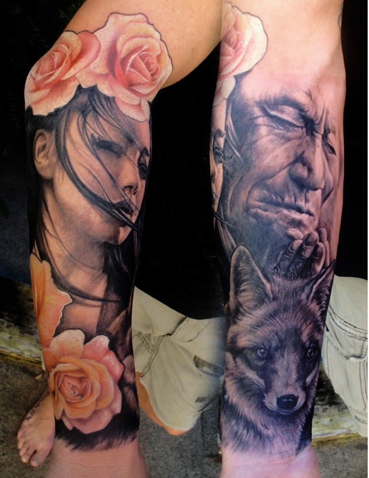 Girl with Roses and Serious Man. Tattoos by Chris Nieves