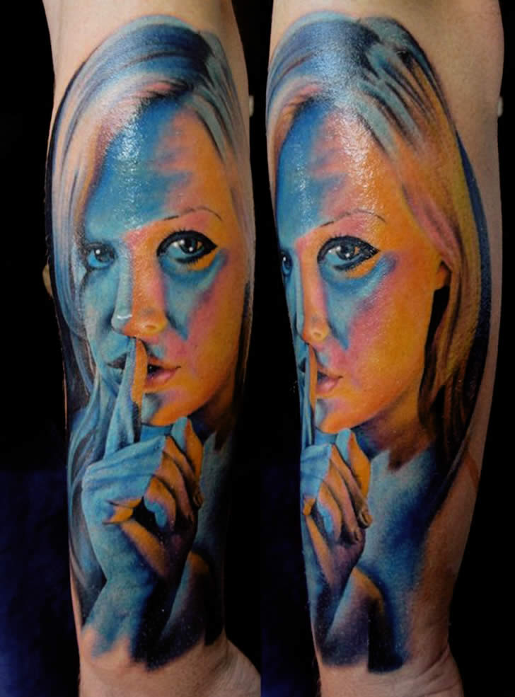 Shhh Girl. Tattoo by Chris Nieves