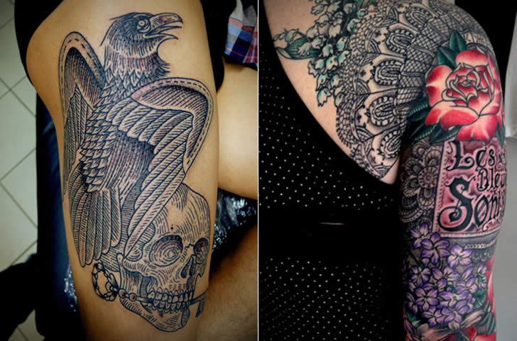 Complex patterned bird and sleeve by  Jason Zigzag Corbett