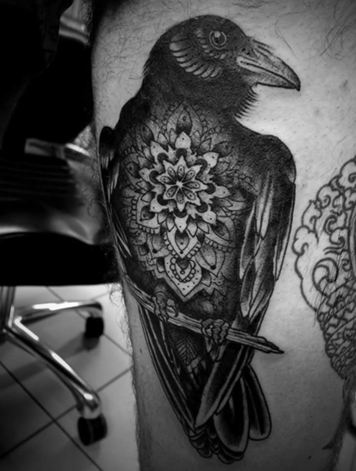 Complex patterned bird tattoo by  Jason Zigzag Corbett