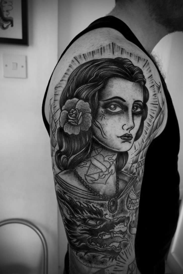 Girl Illustration Style Tattooo by  Jason Zigzag Corbett