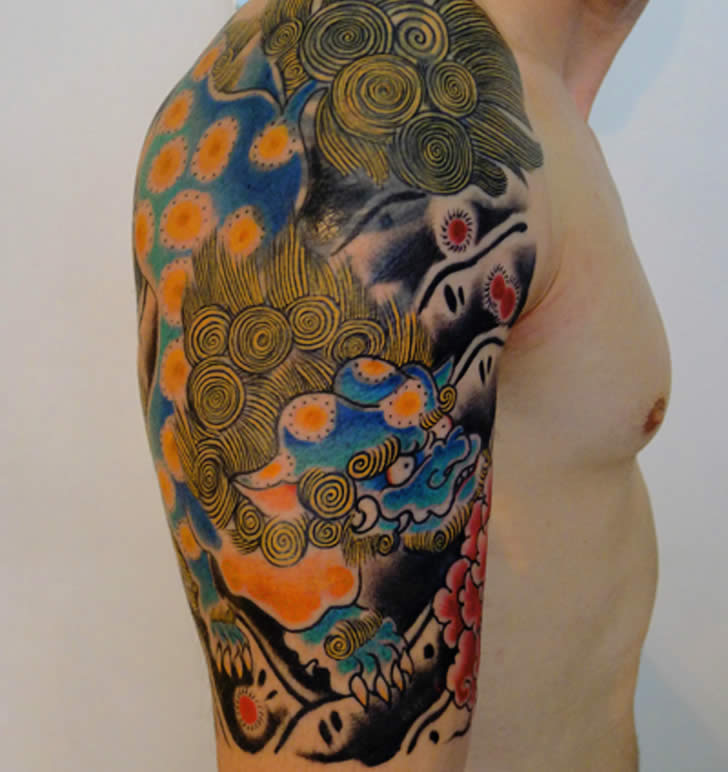 Asian colored van gogh tattoo. By  Jason Zigzag Corbett