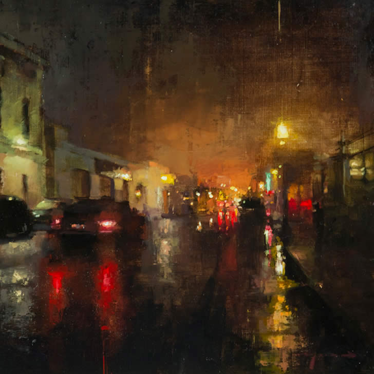 Rainy city night by Jeremy Mann