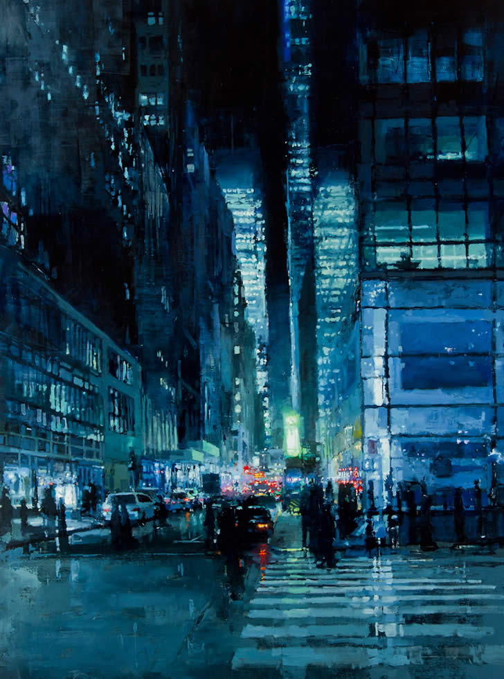 New York Night In Blue by Jeremy Mann