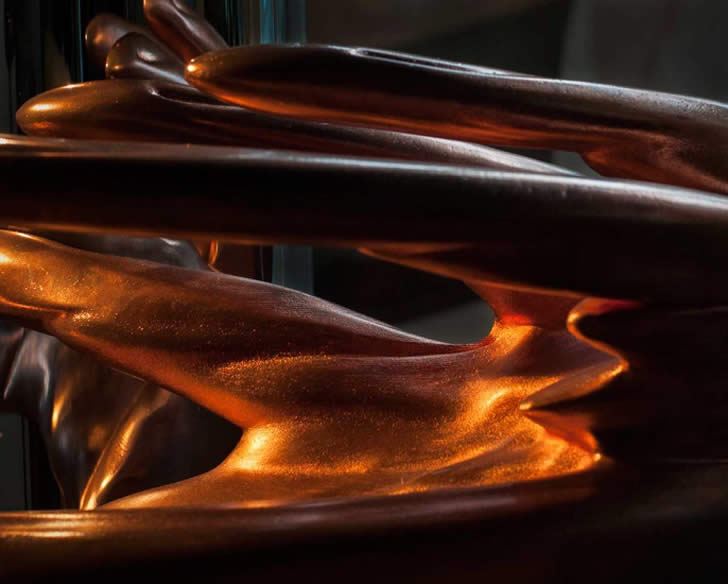 Close-up of copper hand by Jonty Hurwitz