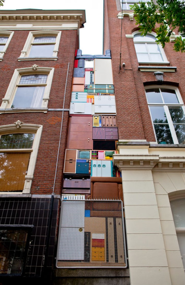outdoor installation of design inspired by tetris game