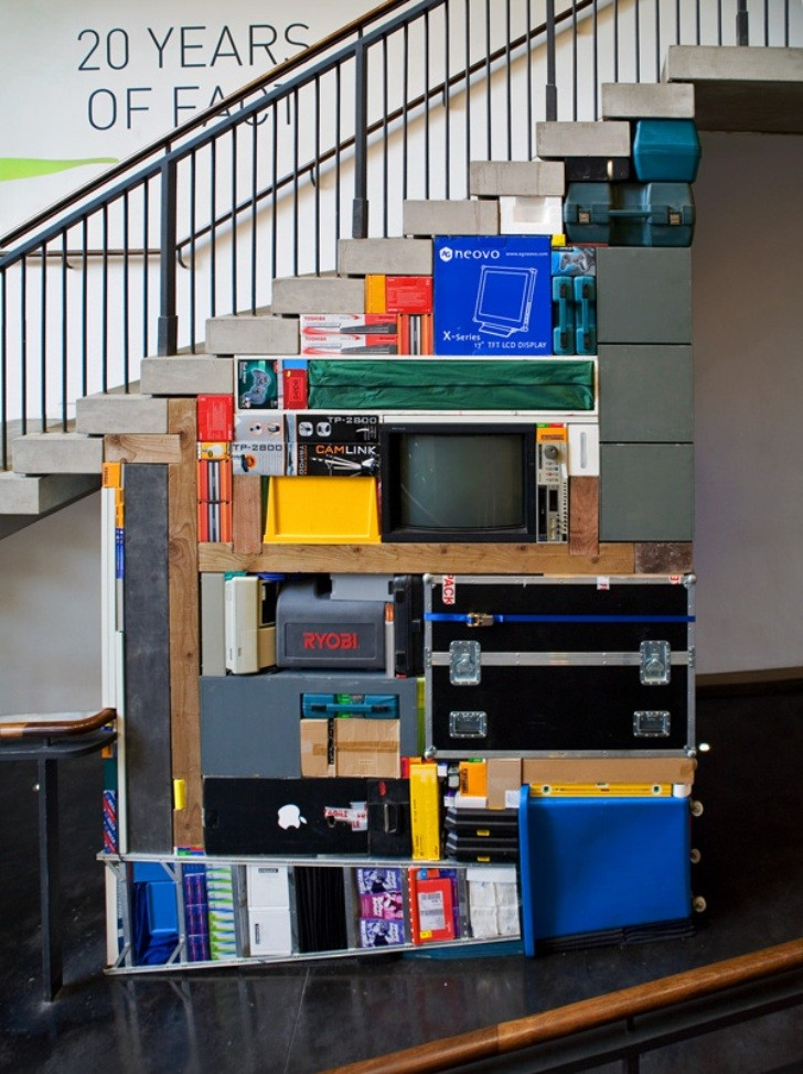 tetris installation below a staircase