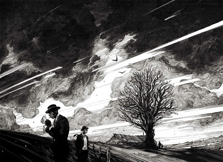 Dark sky drawing by Nico Delort