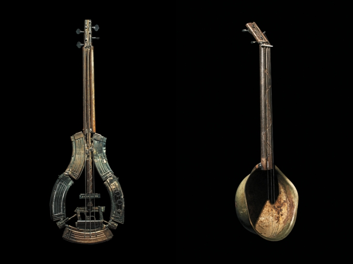 guitar made from used military weapons