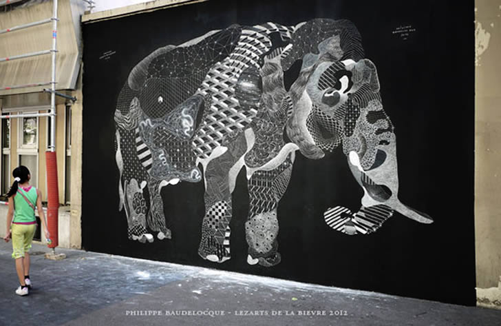 Elephant chalk mural by baudelocque