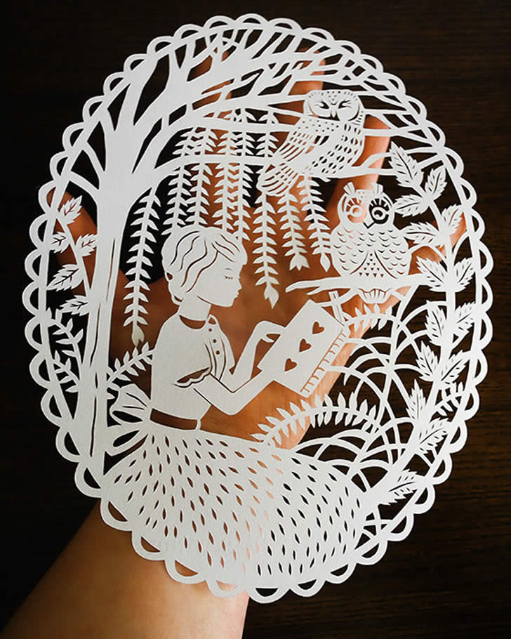 Girl Reading, Paper art by Sarah Trumbauer