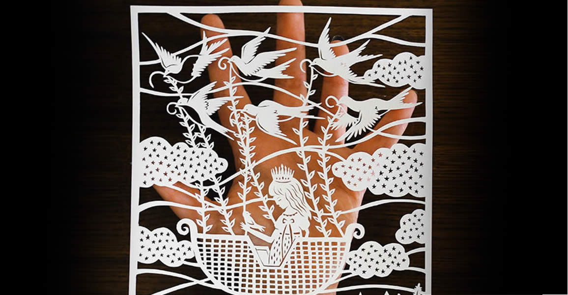Girl on Boat. Paper art by Sarah Trumbauer