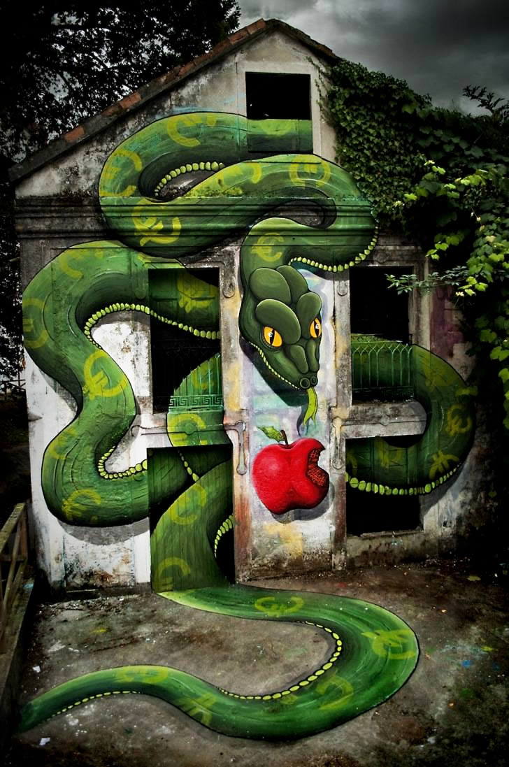 green snake on a building by Sokram