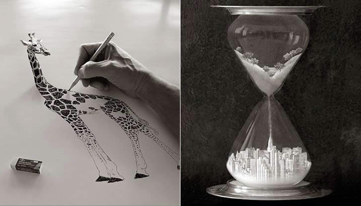 Giraffe hand-drawn and Hour Glass by Thomas Barbey