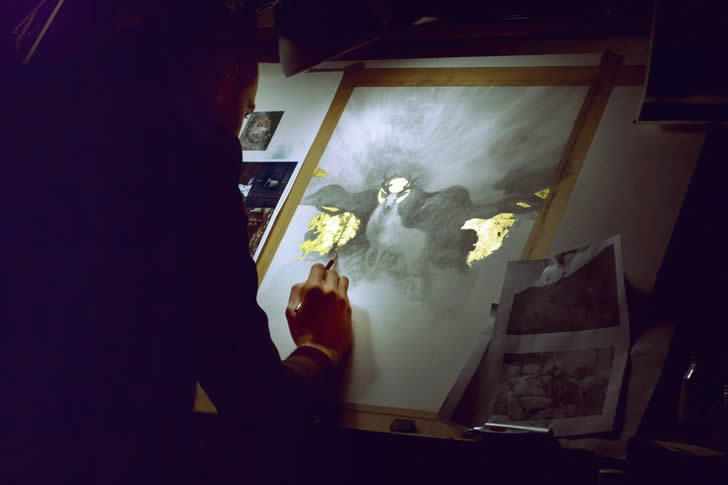 Yoann Lossel working on a painting