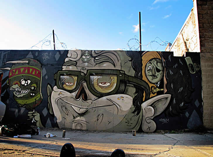 Nerdy Skull Nose. A Mural by Yok