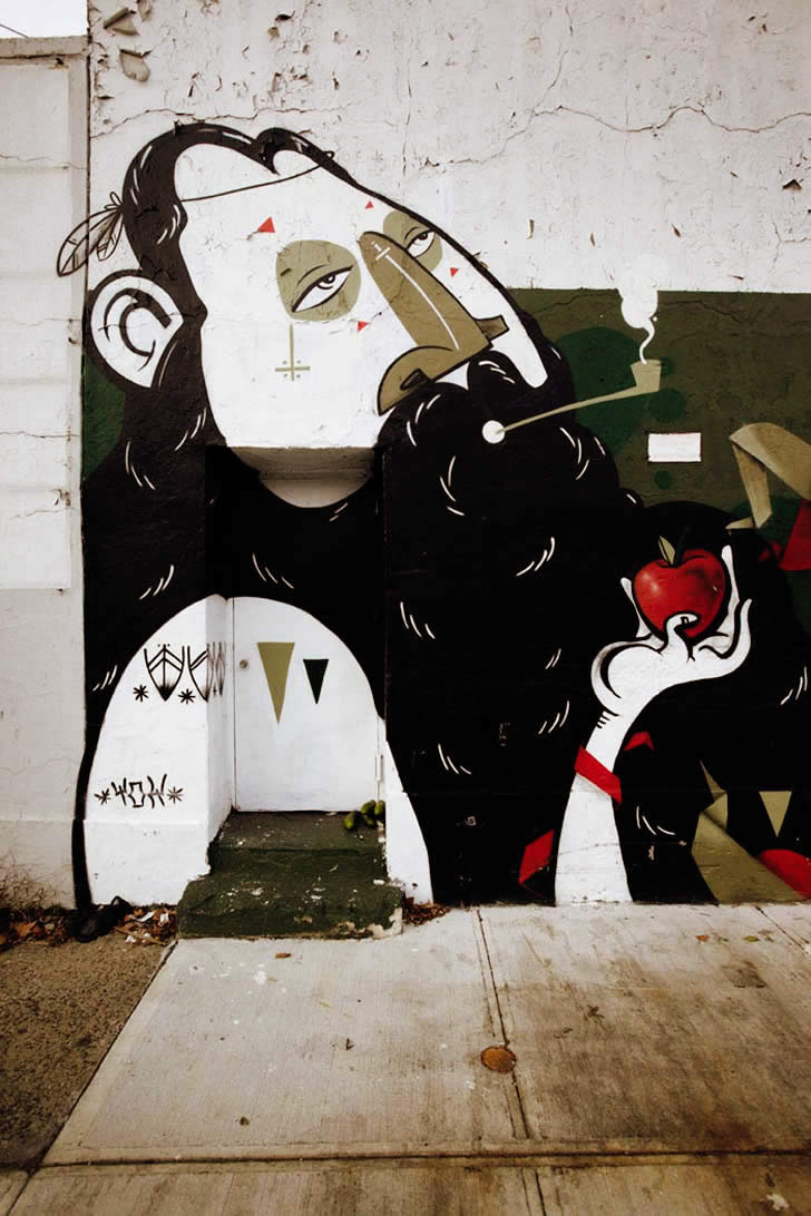 Literature Nose with Apple. Street art by Yok