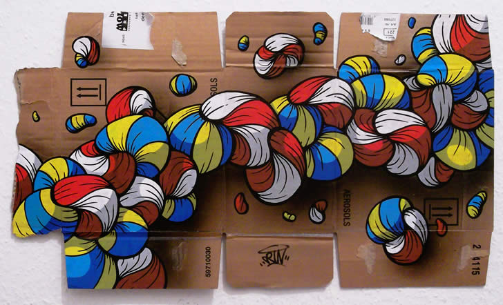 Red, yellow, white, blue. Cartoon bubbles on Cardboard by Crin