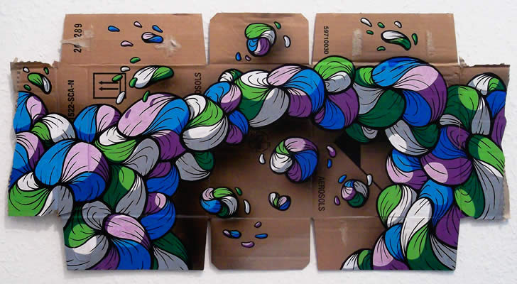 Purple, blue, green.Cartoon bubbles on Cardboard by Crin