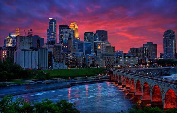Pink and blue city by Dan Anderson