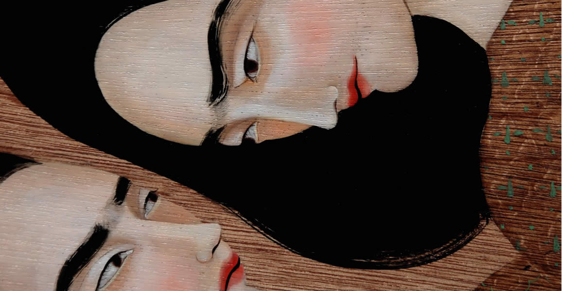 Two Woman on Wood by Hayv Kahraman