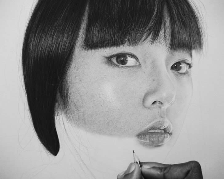 Drawing realistic asian woman by Kelvin Okafor