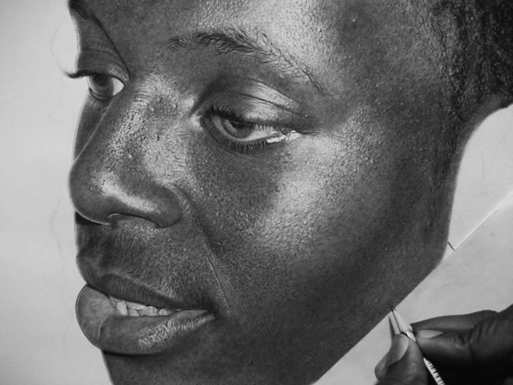 Close-up of drawing. Afro-American man.