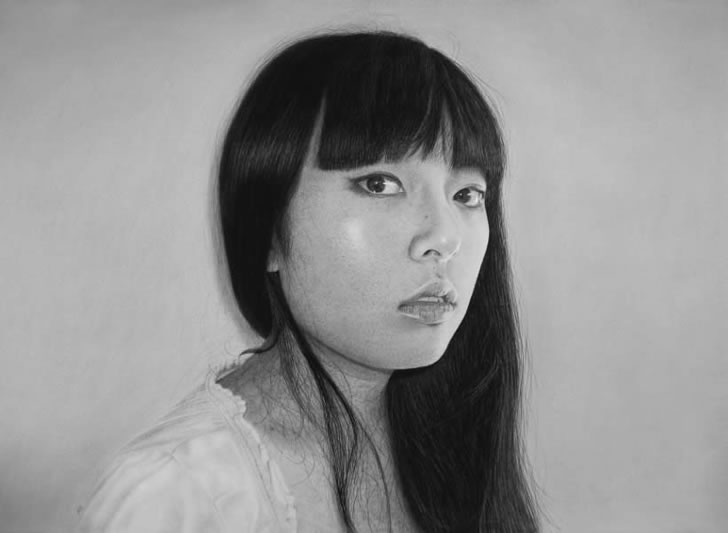 Asian Woman Mana. Realistic pen drawing